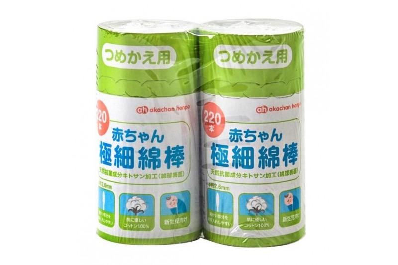 Akachan Honpo 阿卡將嬰兒極幼細棉花棒補充裝220支 x 2件