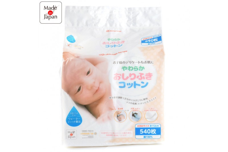 Akachan Honpo 阿卡將嬰兒用脫脂純棉片540片 (8x12cm)