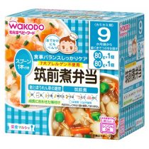Wakodo Dish of chicken and vegetables fried,Rice Porridge with Salmon & Spinach 9 Months 80g*2